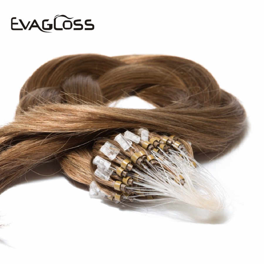 EVAGLOSS 0.5gram/strand Real Remy Keratin Silky Straight Micro Beads/Rings Loop Human Hair Extensions