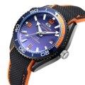 Мужские классические часы  автоматический механический парусиновый ремешок на резиновой подошве в стиле James Bond 007  оранжевые  синие  красные...