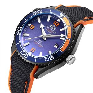 Men Automatic Self Wind Mechanical Canvas Rubber Strap James Bond 007 Style Orange Blue Red Rotatable Bezel Classic Watch(China)