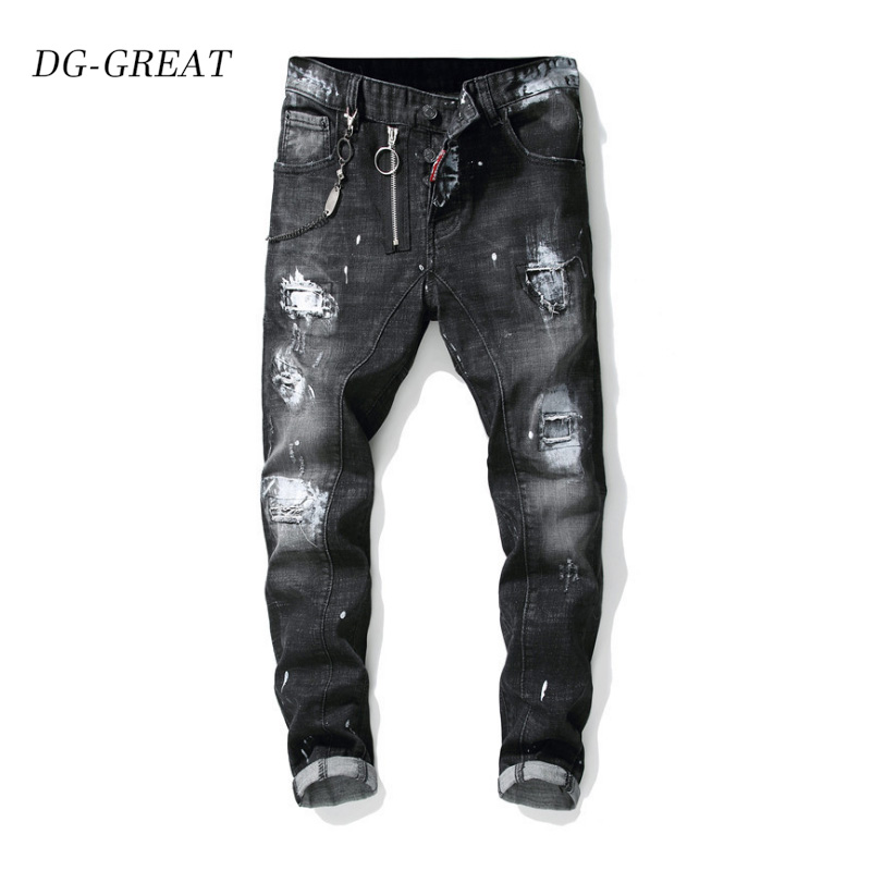 New Autumn Winter 2019 Ragout Splashes Paint On Men's Slimming Stretch Wash Jeans Black Cotton Beggar Pants Trousers Male