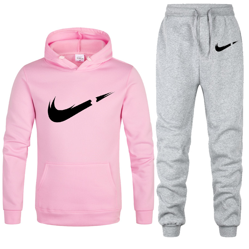 Free Shipping 2019 New Brand Tracksuit Fashion Hoodies Women Sportswear Two Piece Sets Fleece Thick Hoody+Pants Sporting Suit
