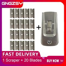 Steel Floor Scraper Glue Remover 20pcs Additional Razor Blades for Window Tinting Home Tile Budilding Cleaning Spatula E35+20M
