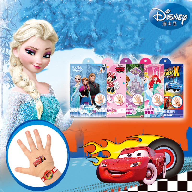 4 Pcs/set Princess Girls Frozen Elsa Anna Temporary Tattoo Original Gift Box Buzz Body Art Mickey Minnie Waterproof Stickers