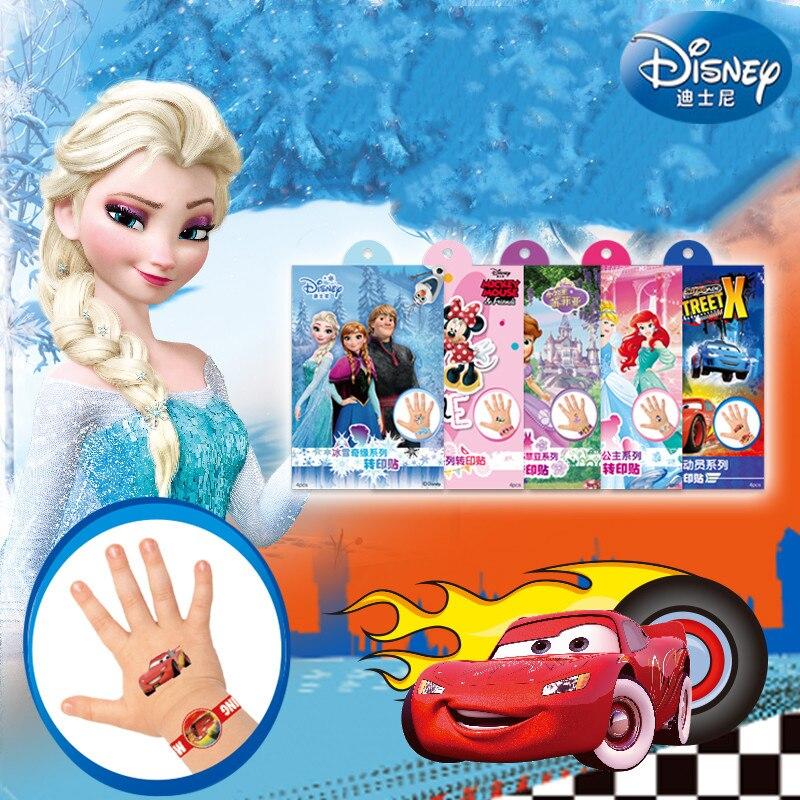 4 Pcs/set Princess Girls Frozen Elsa Anna Temporary Tattoo Original Gift Box Buzz Body Art Mickey Minnie Waterproof Stickers