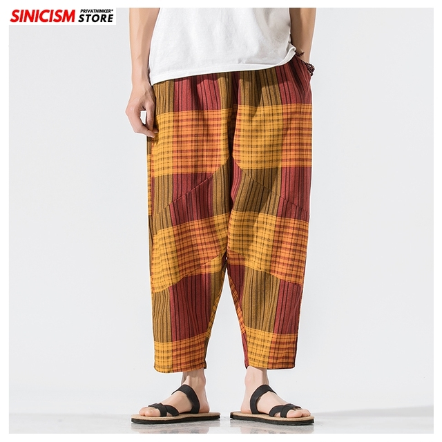 Sinicism Store Men Patchwork Harem Pants Mens Breathable 2020 Chinese Style Loose Joggers Male Summer Pants Oversize Bottoms 12