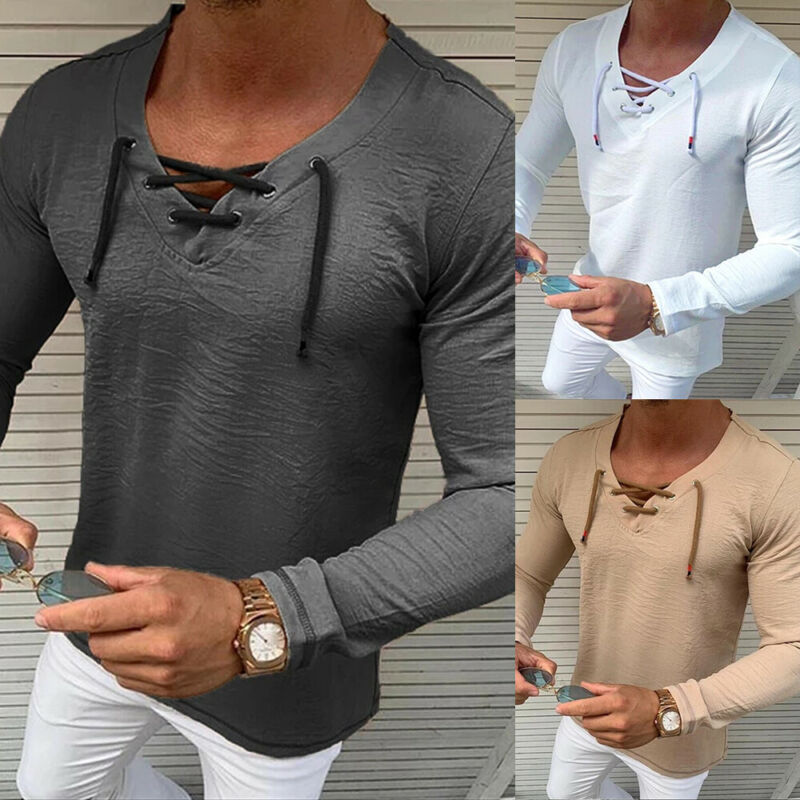 2020 HOT Elegant  Men's Slim Fit V-Neck Long Sleeve Muscle T-shirt Casual Solid Tops Tee Shirt Plus Size M-XXXL