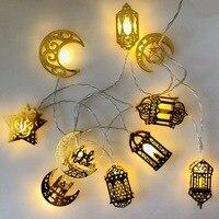 Decoraciones Ramadán Luna estrella Led cadena de luces EID Mubarak decoración para el hogar, el Islam musulmán evento Fiesta de Eid al-Fitr Decoración