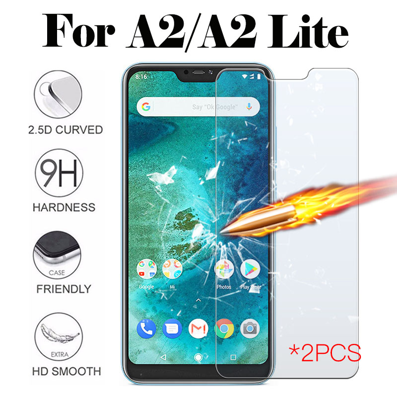 2PCS Protective Glass On For Xiaomi Mi A2 Lite Glas Tempered Xaomi Xiomi Xiaome A 2 A2lite Light Screen Protector Xiaomia2 Film