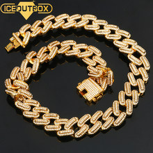 Luxury 20 มม.Iced Out Miami Cuban Chains สร้อยคอเงินทอง Hip Hop Iced Out ประดับ CZ rapper สร้อยคอเครื่องประดับ(China)