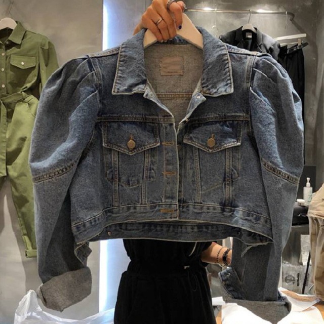 [EWQ] 2021 Autumn New Puff Sleeve Women Blue Turn-down Collar Short Coats Laides Loose Casual Overcoats 16Q57705 3