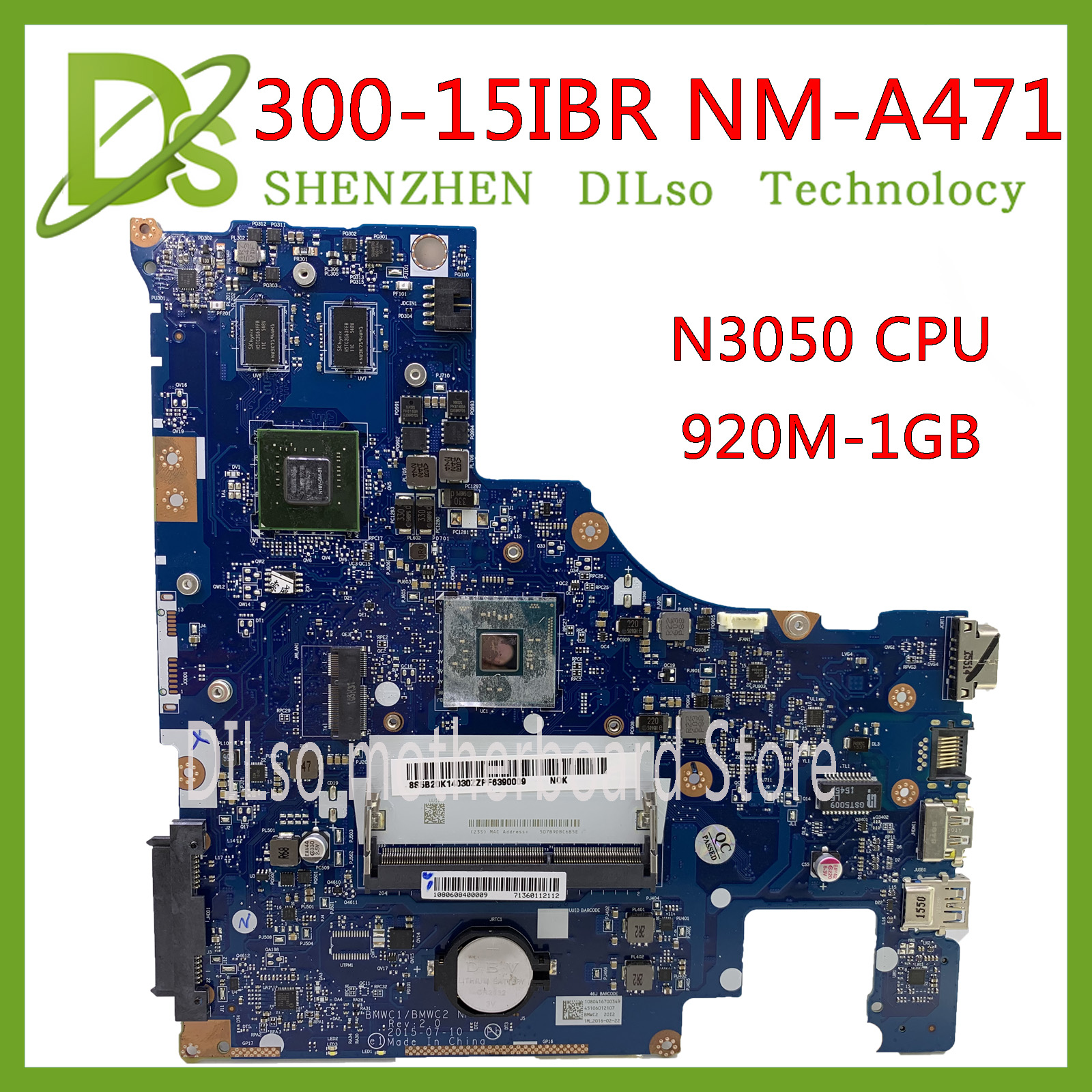 KEFU NM-A471 Motherboard FOR LENOVO 300-15IBR Laptop motherboard BMWC1/BMWC2 NM-A471 N3050 CPU <font><b>920M</b></font> 1G GPU tested 100% work image