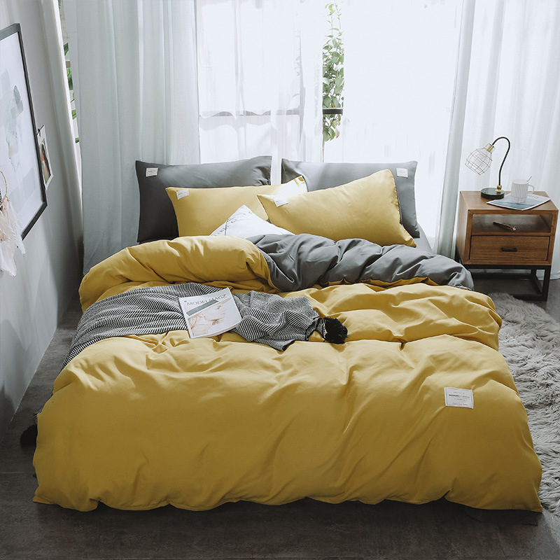 Four Season Fashion Bedding Set Pure A/B Double-Sided Pure Color Simplicity Bed Sheet, Quilt Cover Pillowcase 4Pcs