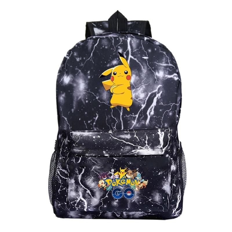 Pokemon Backpack Pocket Monster School Bag Ash Ketchum/Pikachu  Mochila School Backpacks Girls Boys Toddler Bag Kids Book Bags