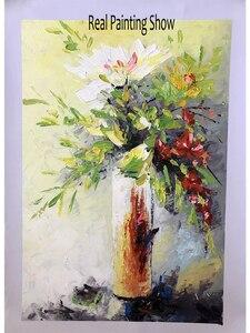 Image 4 - 질감 두꺼운 꽃병 꽃 수제 유화 캔버스 벽 아트 유화 캔버스 나이프 아트 홈 인테리어 벽 사진
