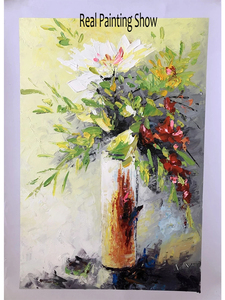 Image 3 - Texture Thick Vase Flower Handmade Oil Painting Canvas Wall Art Oil Paintings Canvas Knife Art Home Decoration Wall Pictures