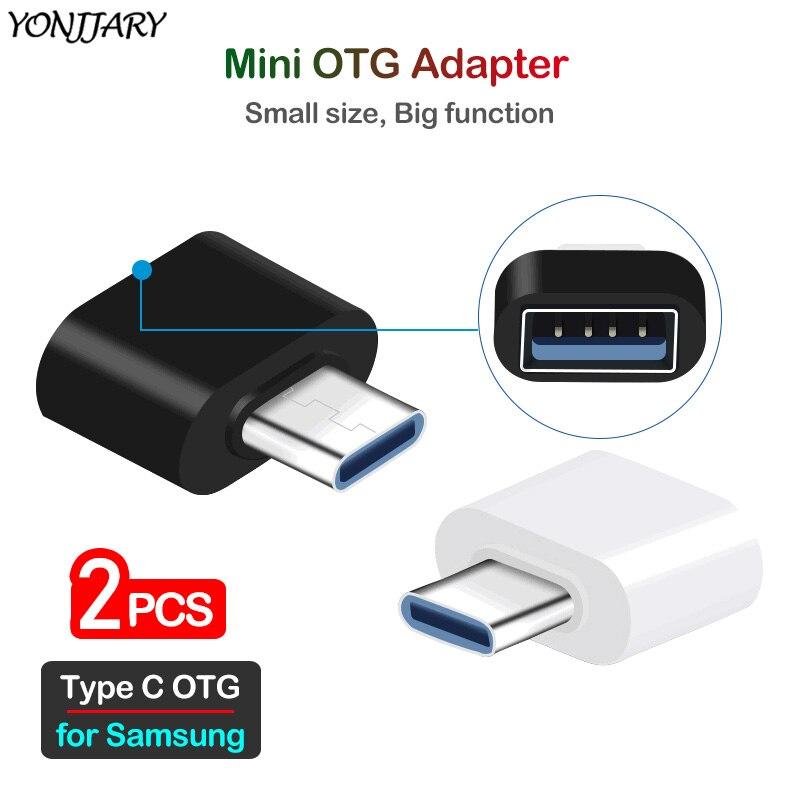 2Pcs USB Type C OTG Adapter For Samsung Galaxy S8 S9 S10 S10e S20 Plus Ultra USBC OTG Data Converter For Samsung Note 8 9 10+