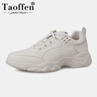Taoffen Women Real Leather Sneakers Shoes Fashion Vulcanized Women Shoes Lace Up Round Toe Casual Women Footwear Size 35 39