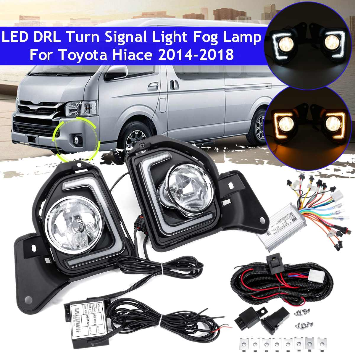 Led Drl With Halogen Fog Light For Toyota Hiace 2014 2015 2016 2017 2018 With Switch Harness Daytime Running Light Lamp Styling