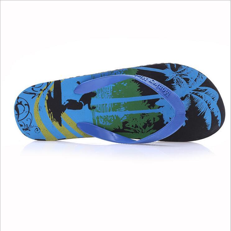 Summer Men Slippers Flip Flops Cartoon Coconut Tree Pattern Beach Shoes Indoor & Outdoor EVA Pool Shoes Slip On Flat Slippers