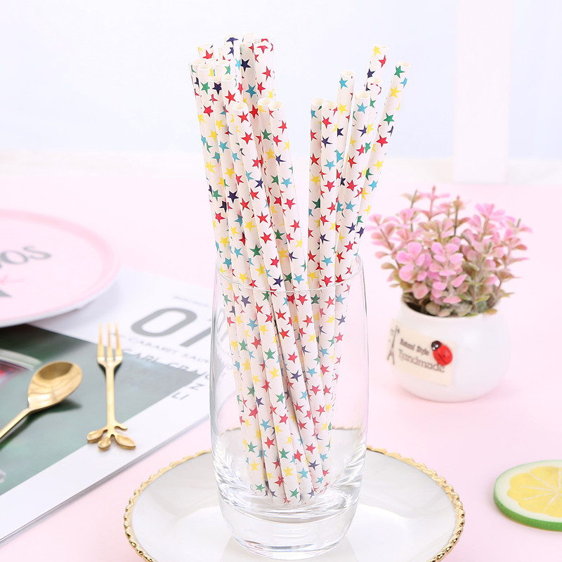 Shopee Foreign Trade Wholesale Disposable Environmentally Friendly Paper Straw Cocktail Straw 25 Pack