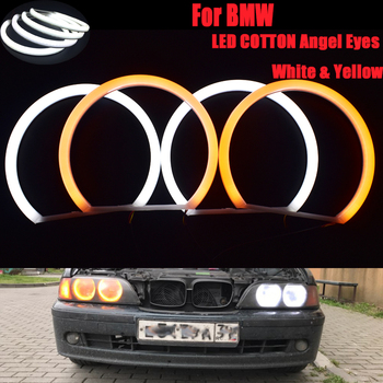 цена на Ultra Bright 4*131mm SMD LED Angel Eyes For BMW E39 E46 E38 E36 Projector Led Headlight Halo Ring Kit White For Bmw E39 E46 CCFL