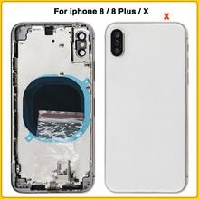 Para iphone 8 8G 8 Plus 8 P batería cubierta trasera puerta trasera + marco medio + bandeja sim partes laterales llave para iphone X carcasa