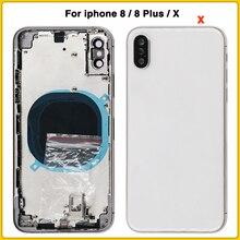 Para o iphone 8 8g 8 plus 8 p bateria capa traseira porta + quadro médio bandeja sim lado peças chaves para iphone x habitação caso