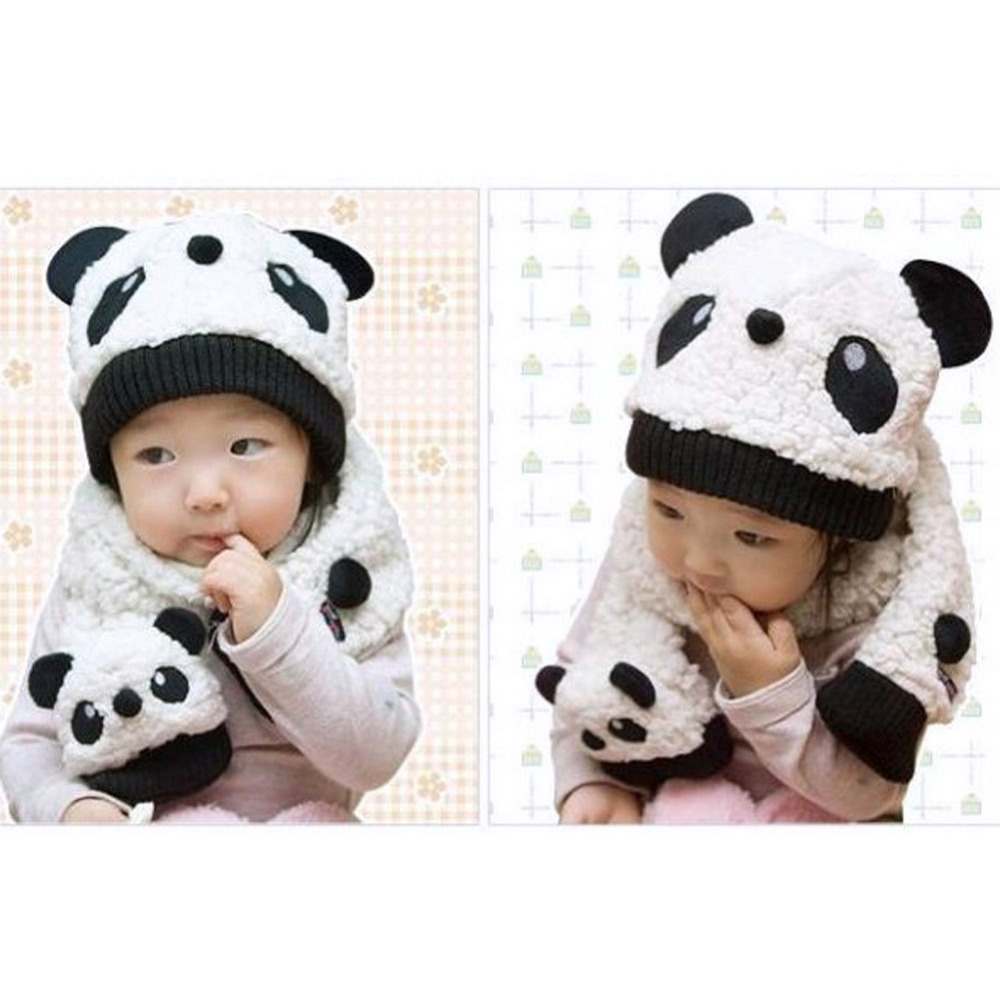 2Pcs/Set Autumn Winter Baby Hat Super Cute Cartoon Panda Warm Hats+Scarf