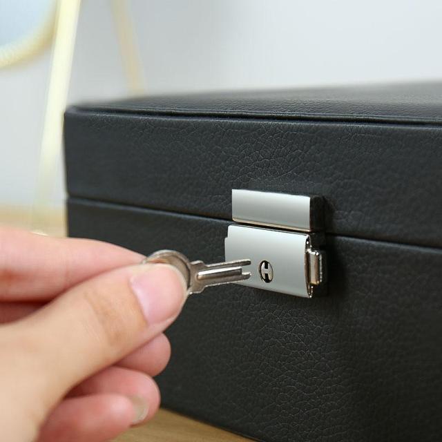 Caixa de armazenamento de jóias de couro do plutônio caixa de embalagem multi-função de estilo europeu portátil com gaveta presente de inverno 6