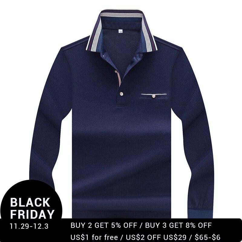 Hollirtiger Men Clothes 2019 PoloShirt Spring Autumn Turn-down Collar Polo Shirt Men Casual Pockets Long Sleeve Tops
