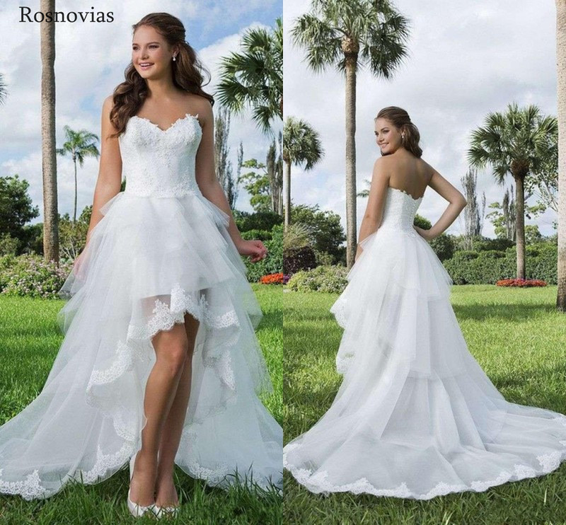 Hot Selling Country Hi Lo Wedding Dresses 2020 Strapless Open Back Tiered Skirts High Low A Line Bridal Gowns Vestido De Novia Wedding Dresses Aliexpress