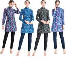 Swimsuit Hijab Long-Sleeve Islam Burkinis Plus-Size Women Floral