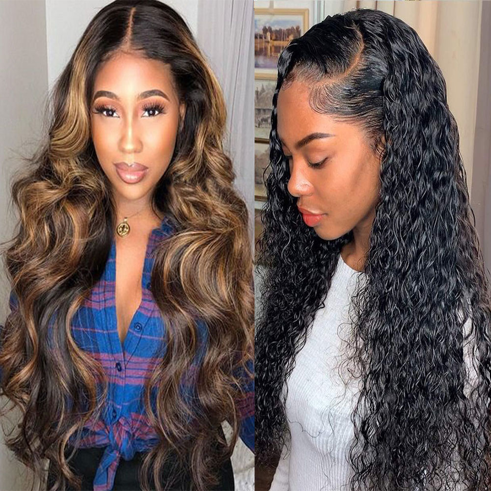 Long Ombre 13x6 Lace Front Human Hair Wig Natural Jet Black Curly Lace Front Wigs Highlight Honey Blonde Brown Lace Remi Wig