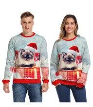 Christmas Men Women 3d Print Crew Sweater Turtleneck Long Sleeve Star Deer Casual Tide Brand Couple