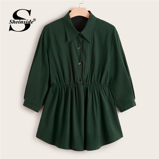 Sheinside Plus Size Green Button Up Longline Blouse Women 2019 Autumn Casual Flared Hem Blouses Ladies Solid Minimalist Top
