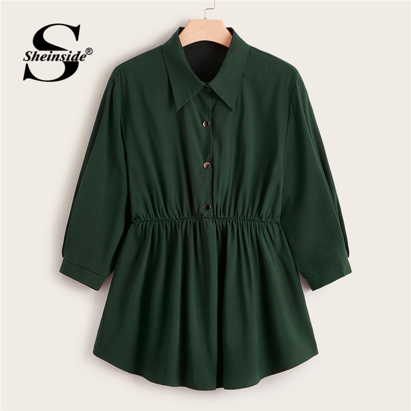 Sheinside Plus Size Green Button Up Longline Blouse Women 2019 Autumn Casual Flared Hem Blouses Ladies Solid Minimalist Top