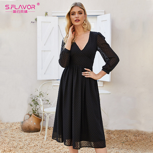Image 4 - S. טעם נשים שחור סקסי המפלגה Vestidos 2020 סתיו אופנה חדש שיפון שמלת נשים צווארון V Slim בוהמי אונליין שמלות