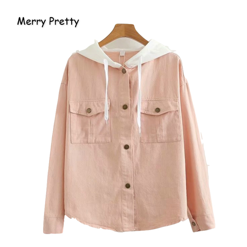 MERRY PRETTY Cotton Women's Single Breasted Solid   Basic     Jackets   And Coats 2019 Winter Warm Long Sleeve Patchwork Hooded Coats