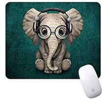 Cartoon Mouse Pad Green Pattern Headset Music Elephant Mousepad Non-Slip Rubber Gaming Rectangle Pads for Latop