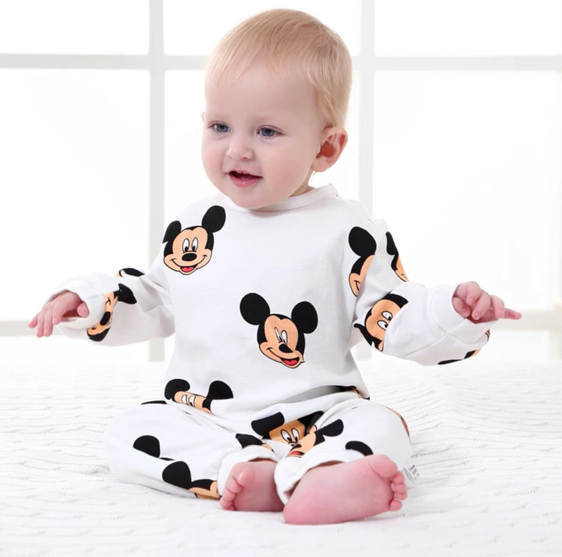 Disney Baby Rompers Baby Boy Clothes Girls Clothing Newborn Infant Jumpsuit Winter Mickey Outfits Cartoon Onesies Baby Clothes(China)