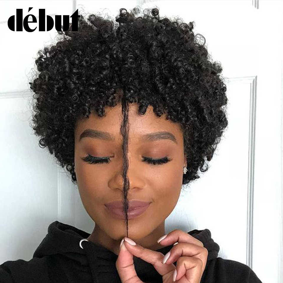 Debut Brazilian Short Curly Bob Wig Remy Human Hair Wigs Pixie Machine Made Jerry Curl Wigs For Black Women Free Shipping Full Machine Wigs Aliexpress