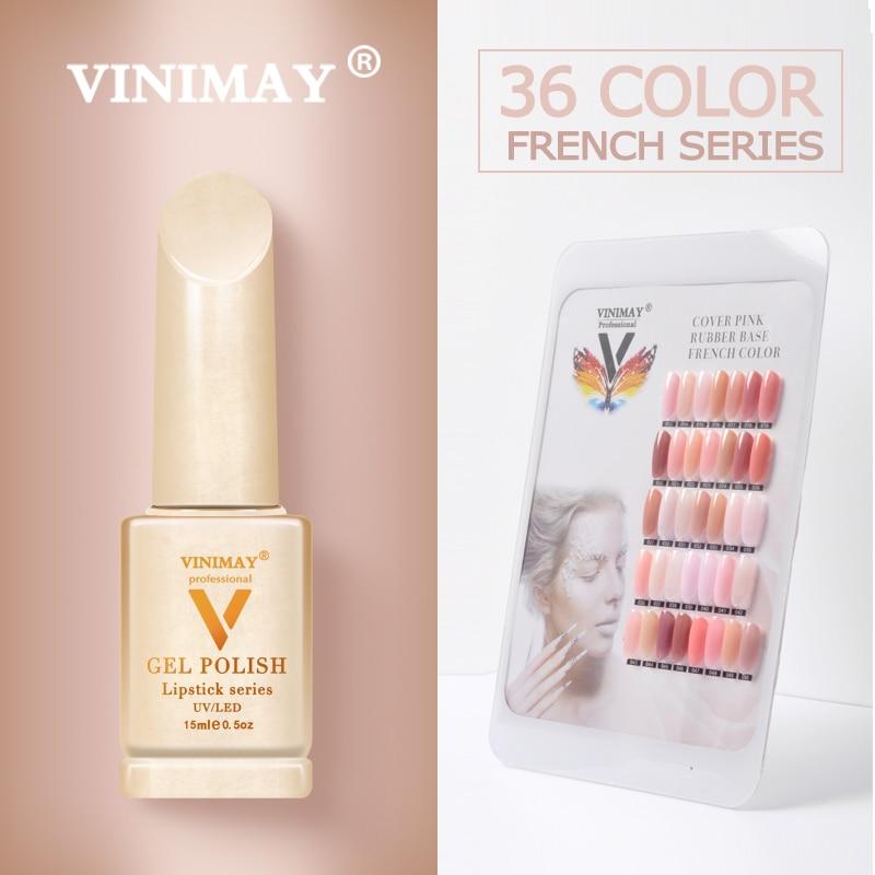 VINIMAY French Nail Art Gel Nail Polish UV Soak Off Gelpolish Gel Polish Color Primer Manicure Nails Gel Lacque Salon 15ml-in Nail Gel from Beauty & Health