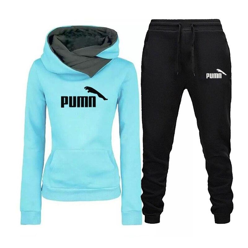 新デザイン2020秋冬女性パーカートレーナーパンツ2個セットトラックスーツ女性長袖プルオーバーパーカースポーツスーツ