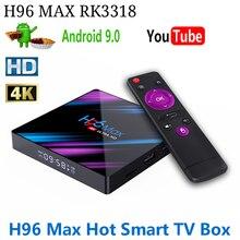 Boîtier Smart TV H96 MAX, Android 3318, penta core Mali 10.0, RK3318 Quad Cor, 4K, avec WiFi 450/5 ghz intégré, 2.4