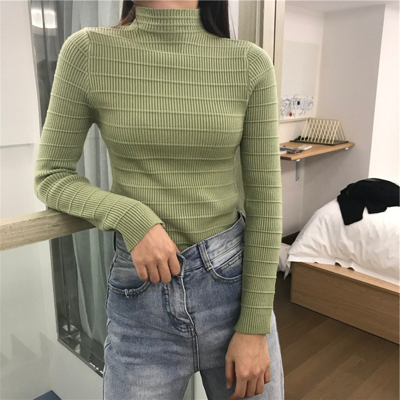 Women Fall Turtleneck Sweaters Elegant Korean Style Solid Color Jumper Ladies Warm Long Sleeve Slim Knit Top