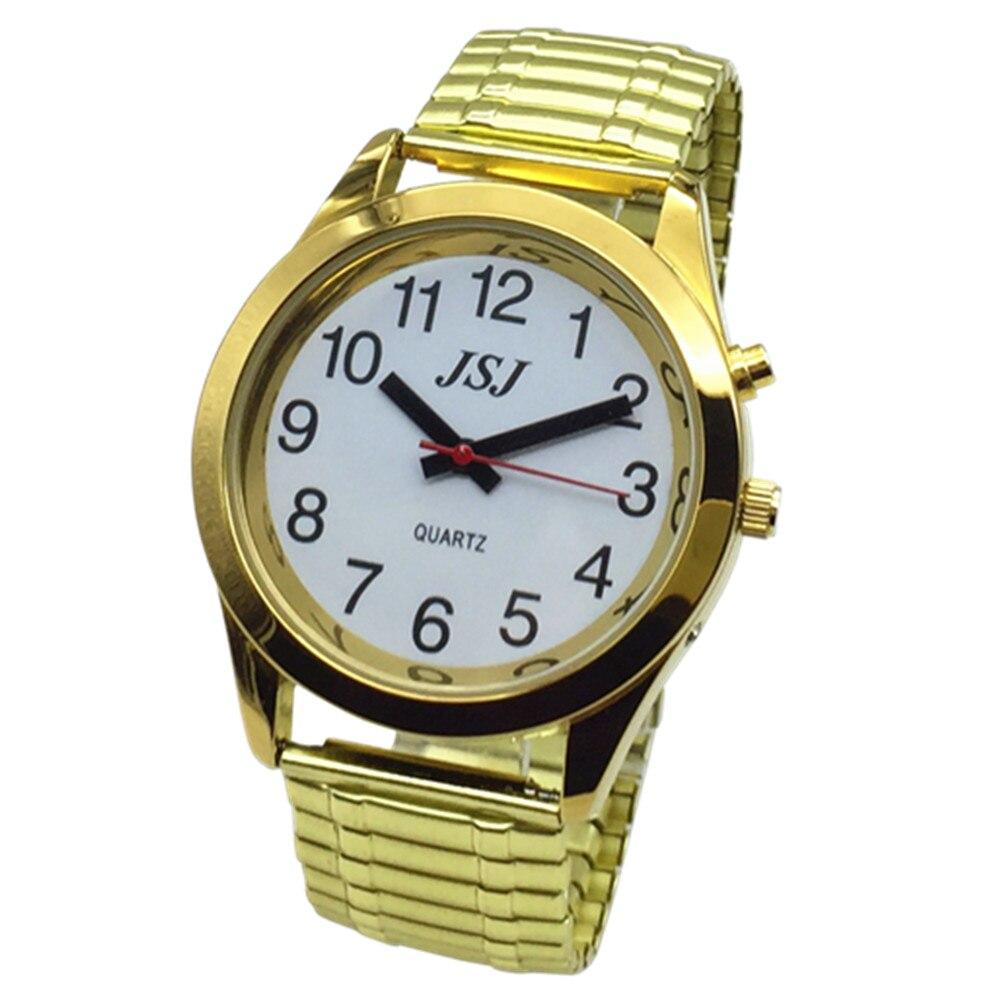 Французские говорящие часы с будильником, говорящая Дата и время, белый циферблат, расширяющийся браслет TAF-702
