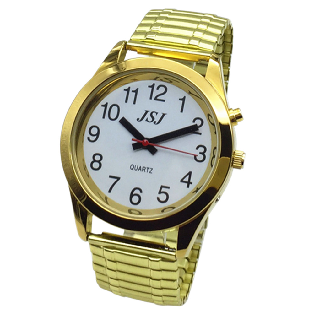 French Talking Watch With Alarm, Talking Date And Time, White Dial, Expanding Bracelet TAF-702