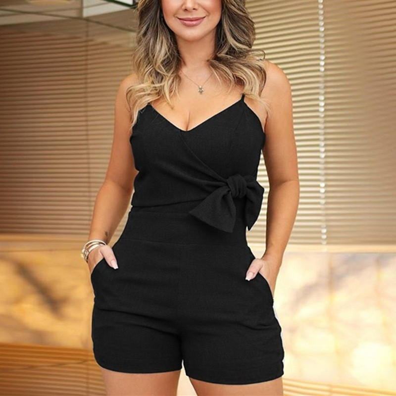 Women Bodysuit Low Cut V-neck Sleeveless Jumpsuit Sexy Spaghetti Strap Backless Pussy Bow Tie Playsuit