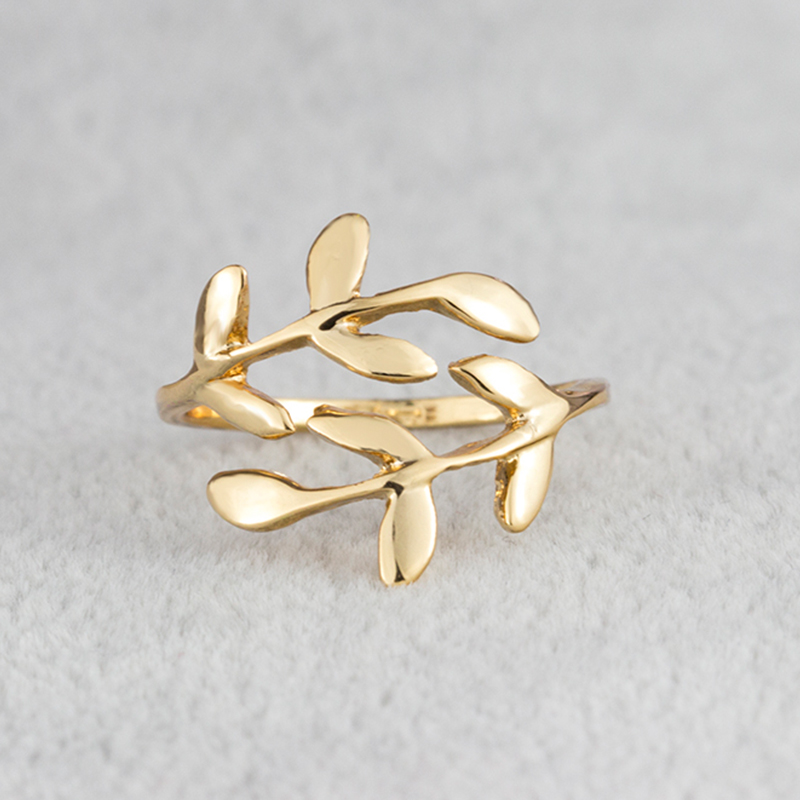Open Leaf Rings For Women Girls Rose Gold Silver Resizable Plant Female Knuckle Ring Fashion Engagement Wedding Party Jewelry