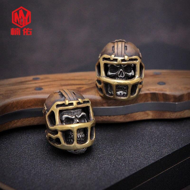 1PC rétro Bronze tibétain argent Rugby chapeau casquette de Football crâne EDC Paracord perles parapluie corde cordon lanière pendentifs couteau perles